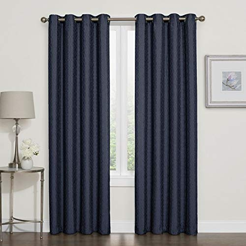 design solutions darcy 100 blackout grommet top window curtain panel 95 inch in navy