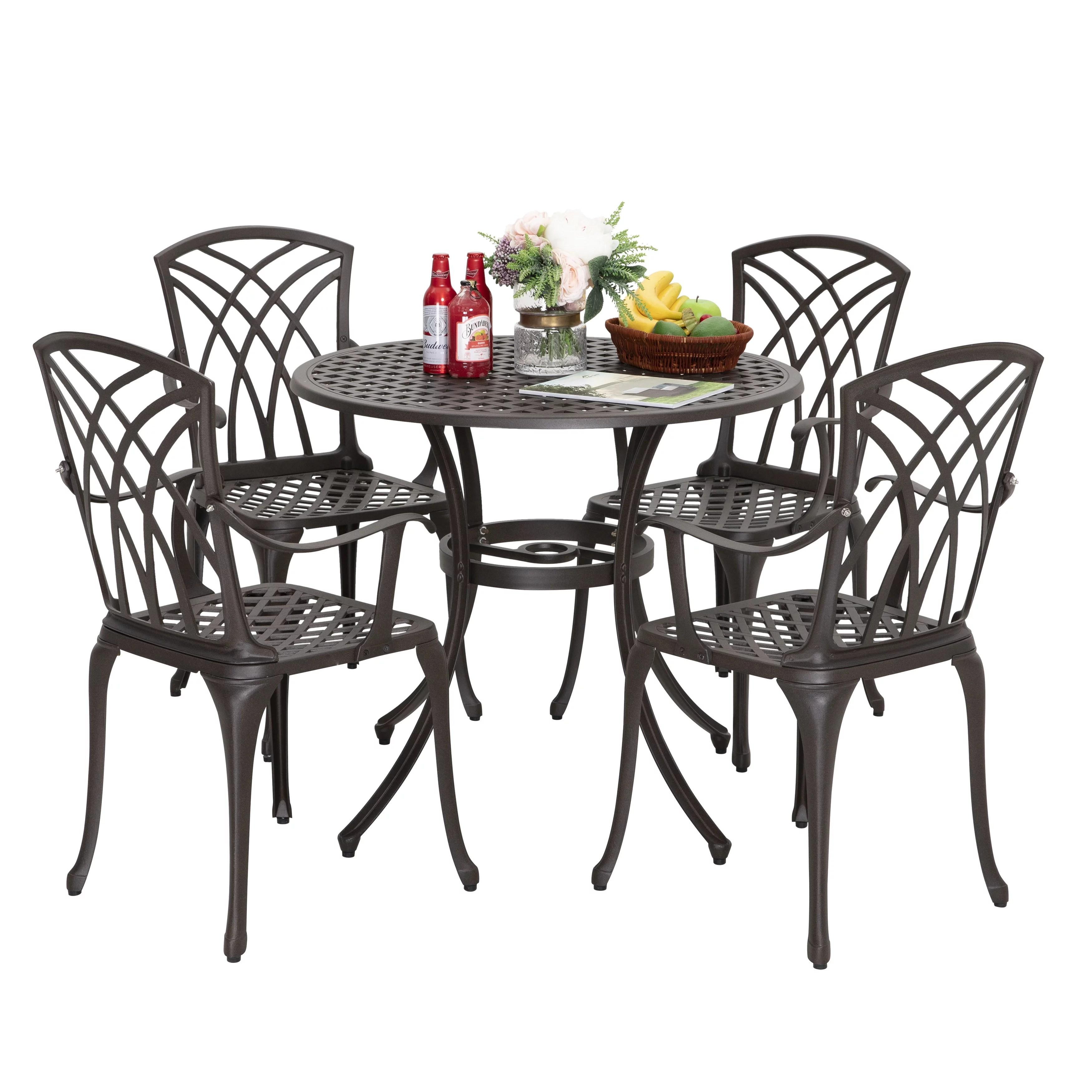 cast aluminum patio dining sets