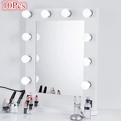 led vanity mirror lights kit herchr dimmable 10 led light bulbs for vanity table set and bathroom mirror hollywood lighting fixture strip mirror not