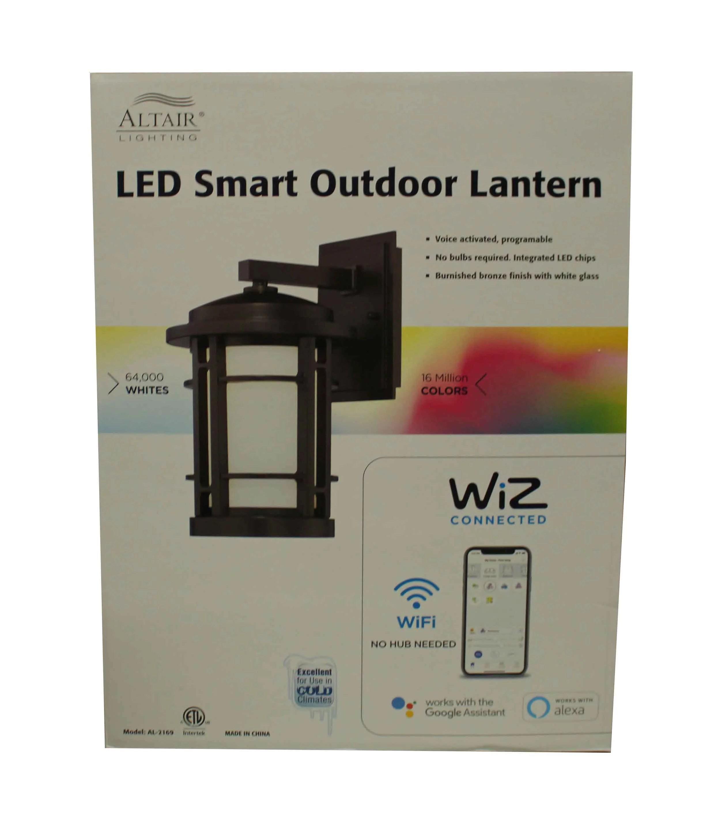 altair lighting led smart color changing outdoor wall lantern walmart com
