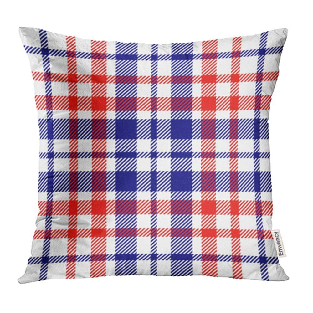 arhome abstract colorful and patriotic red white and blue tartan plaid checkered checkered pillow case pillow cover 20x20 inch throw pillow covers