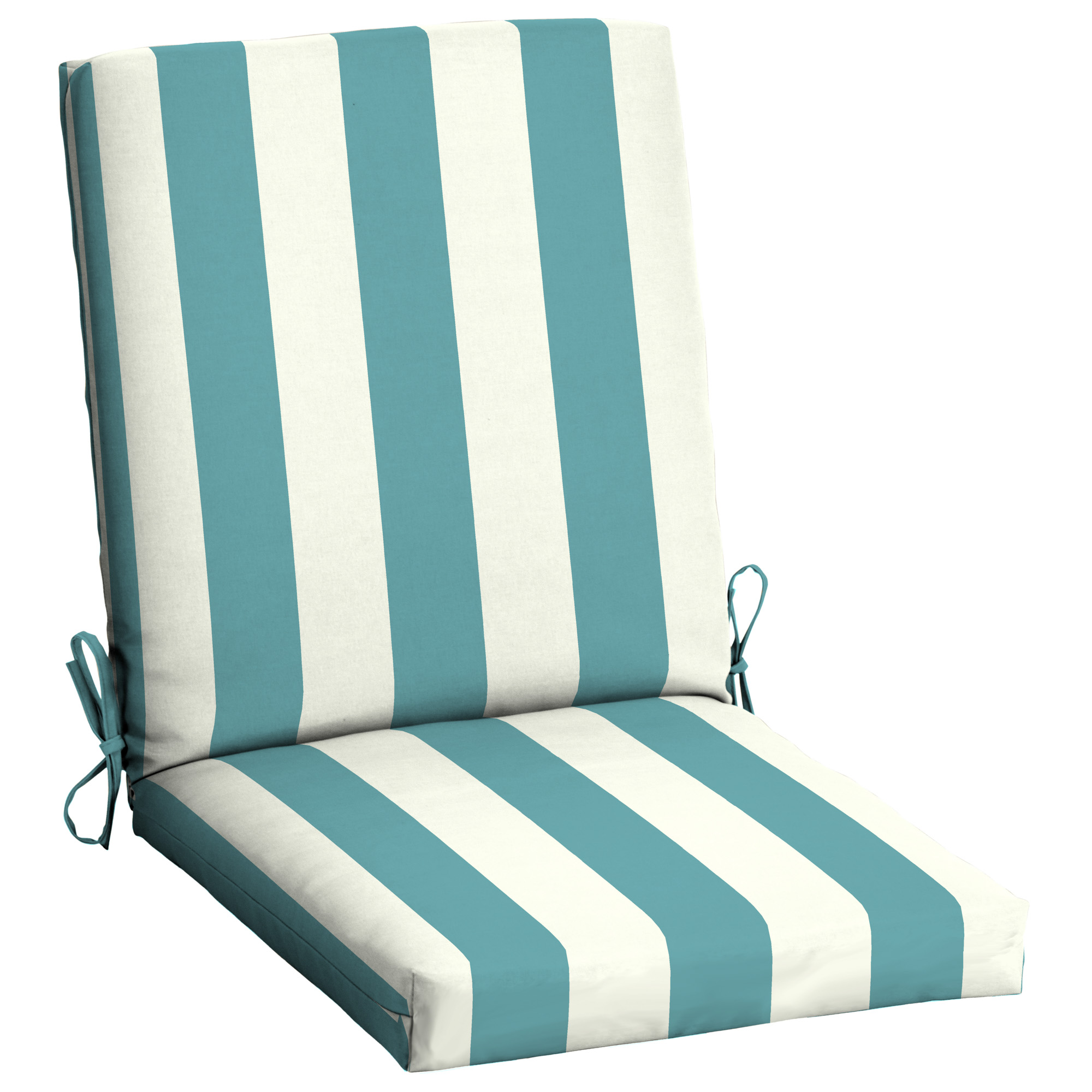 mainstays turquoise cabana stripe 43 x 20 in outdoor patio chair cushion