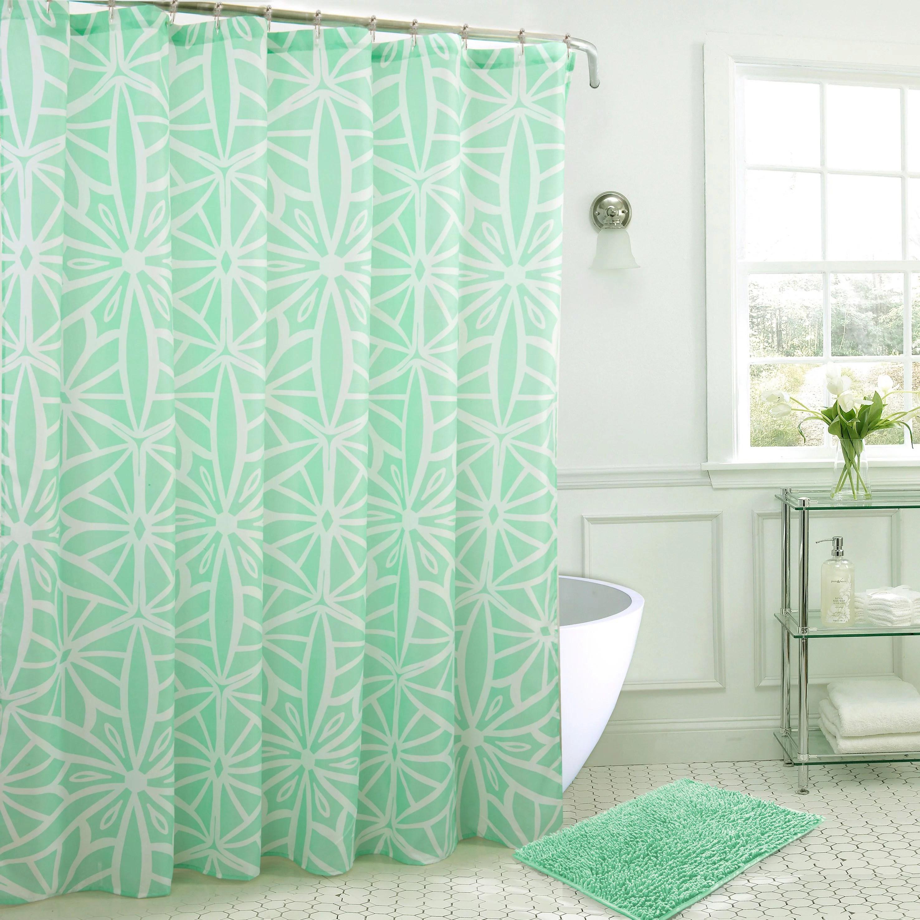 scope bath mat and shower curtain set w hooks in sea glass walmart com