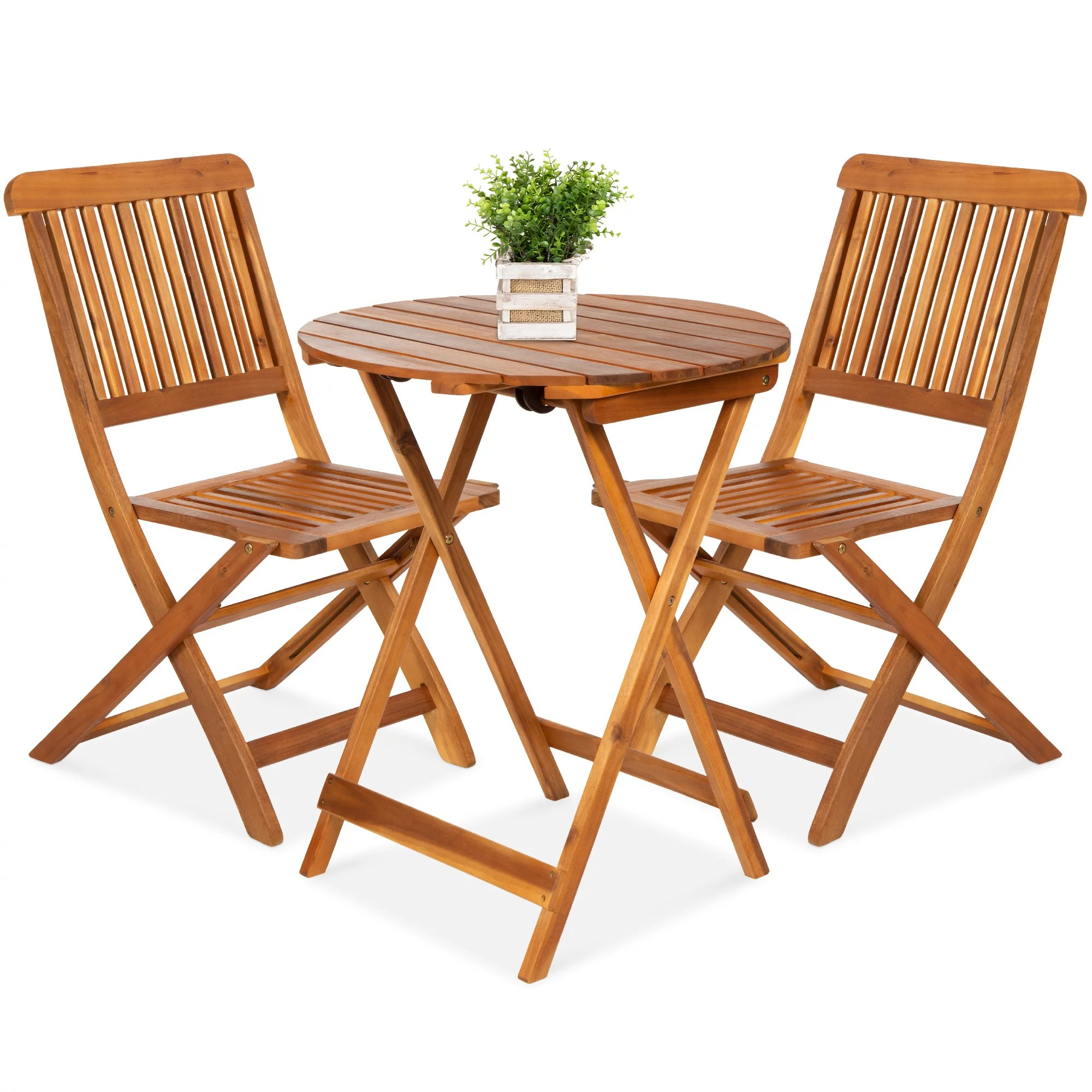 best choice products 3 piece acacia wood bistro set folding patio furniture w 2 chairs table teak finish natural walmart com
