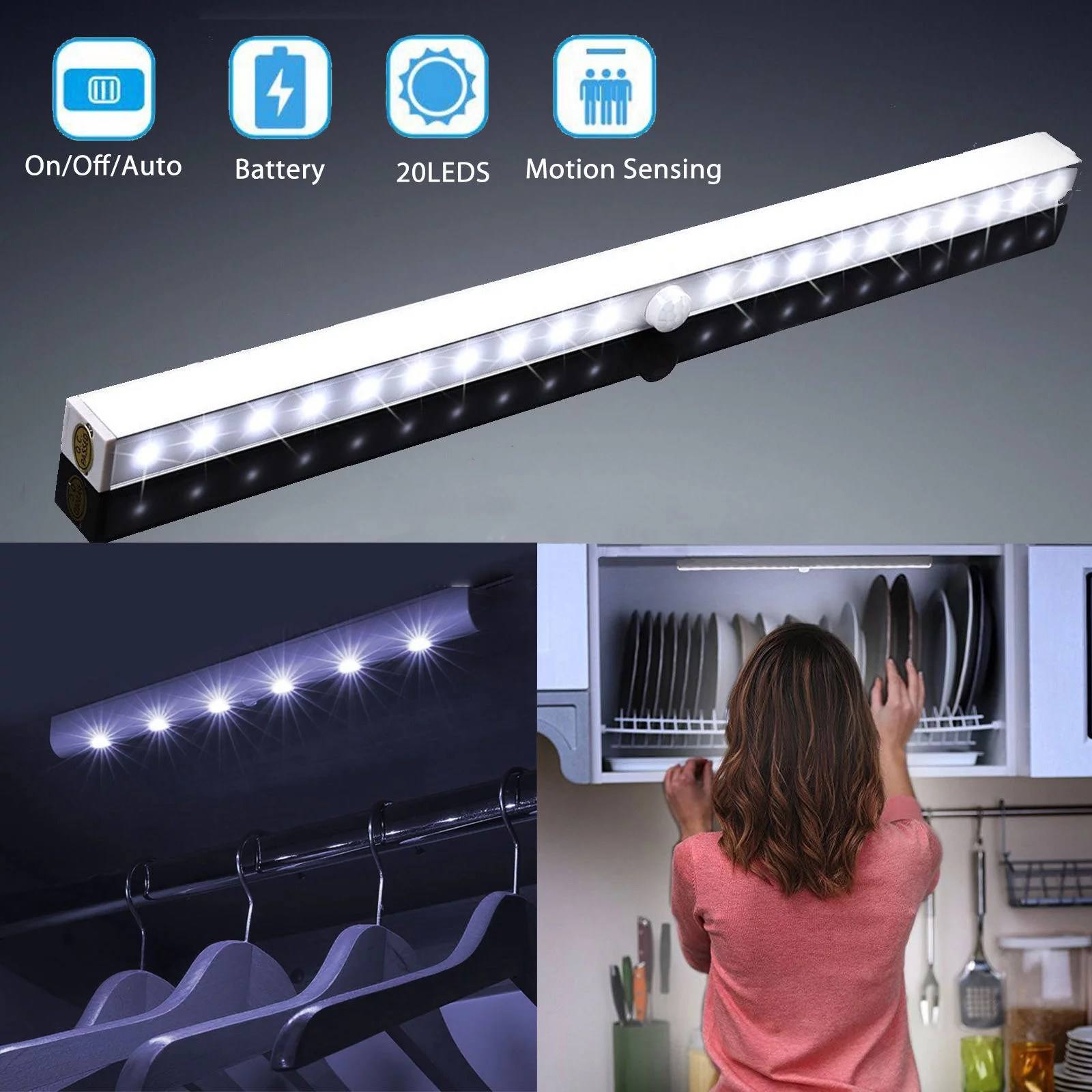 led closet lights tsv wireless 20 led motion sensor under cabinet light battery operated night lighting bar
