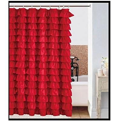 waterfall ruffled fabric shower curtain red