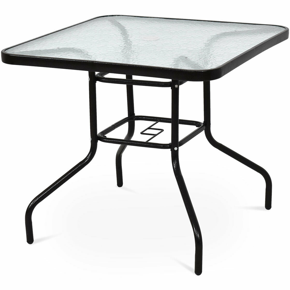 costway 32 patio square table steel frame dining table patio furniture glass top walmart com