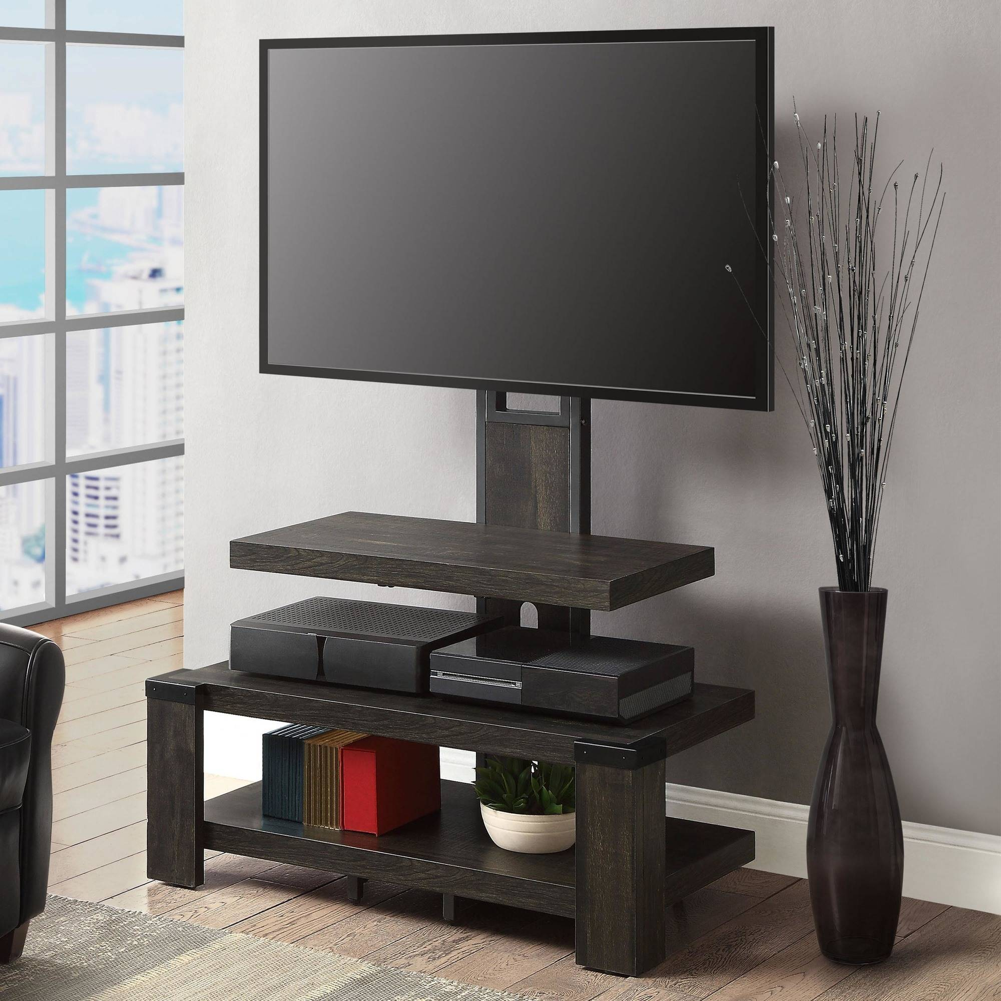whalen 3 shelf television stand with floater mount for tvs up to 55 perfect for flat screens weathered dark pine finish walmart com