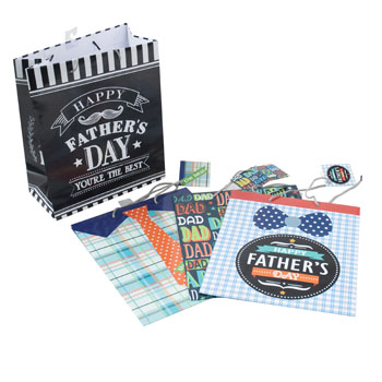 GIFT BAG FATHERS DAY 4AST DESIGN LARGE 10W X 12L X 5G, Case Pack of 24
