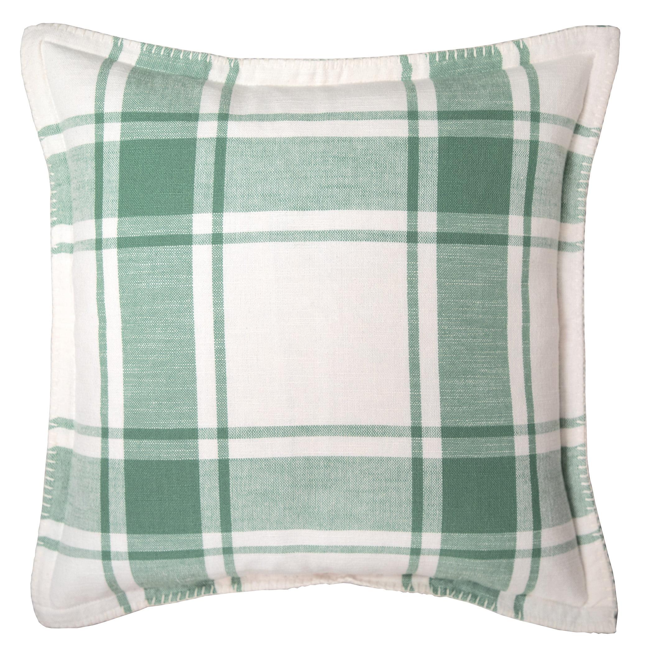 better homes gardens reversible plaid decorative pillow 20 x 20 green sage