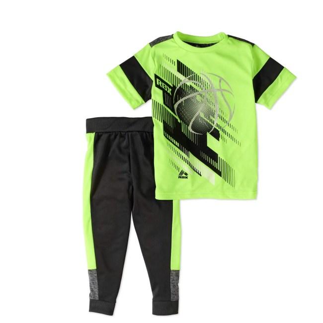 RBX Little Boys' 2-Piece Active Short Sleeve Fashion T-Shirt And Jogger Pants Set