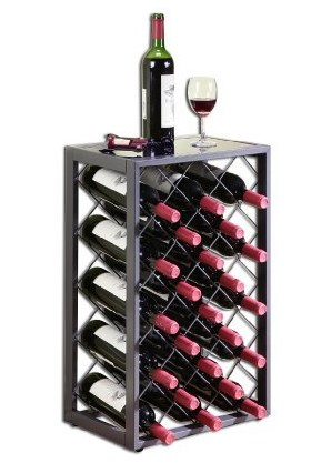 mango steam 23 bottle wine rack with glass table top pewter