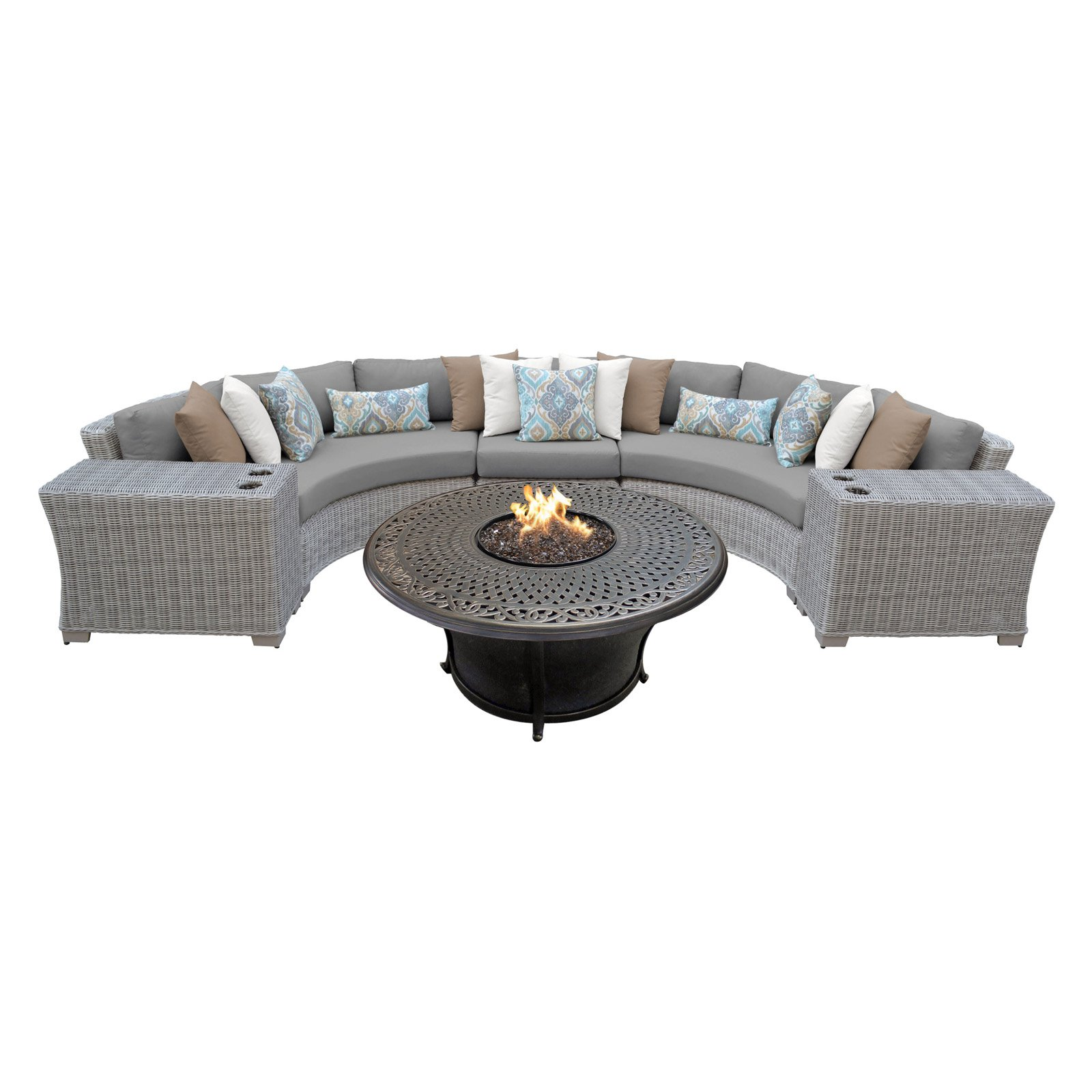 TK Classics Coast 6 Piece Outdoor Wicker Sectional with ... on Riley 3 Piece Sectional Charleston id=35983