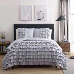 Chezmoi Collection Ella 3 Piece Gray Shabby Chic Waterfall Ruffled Comforter Set King Size Walmart Com Walmart Com