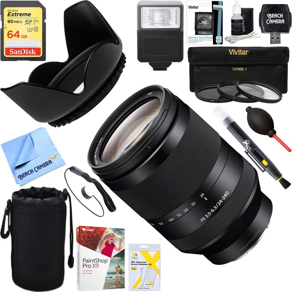 Sony (SEL24240) FE 24-240mm F3.5-6.3 OSS Full-frame E-mount Telephoto Zoom Lens + 64GB Ultimate Filter & Flash Photography Bundle