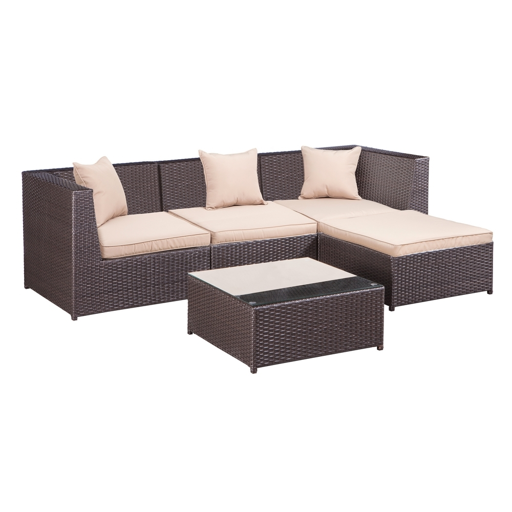 palm springs outdoor 5 pc furniture wicker patio set w chairs table cushions walmart com