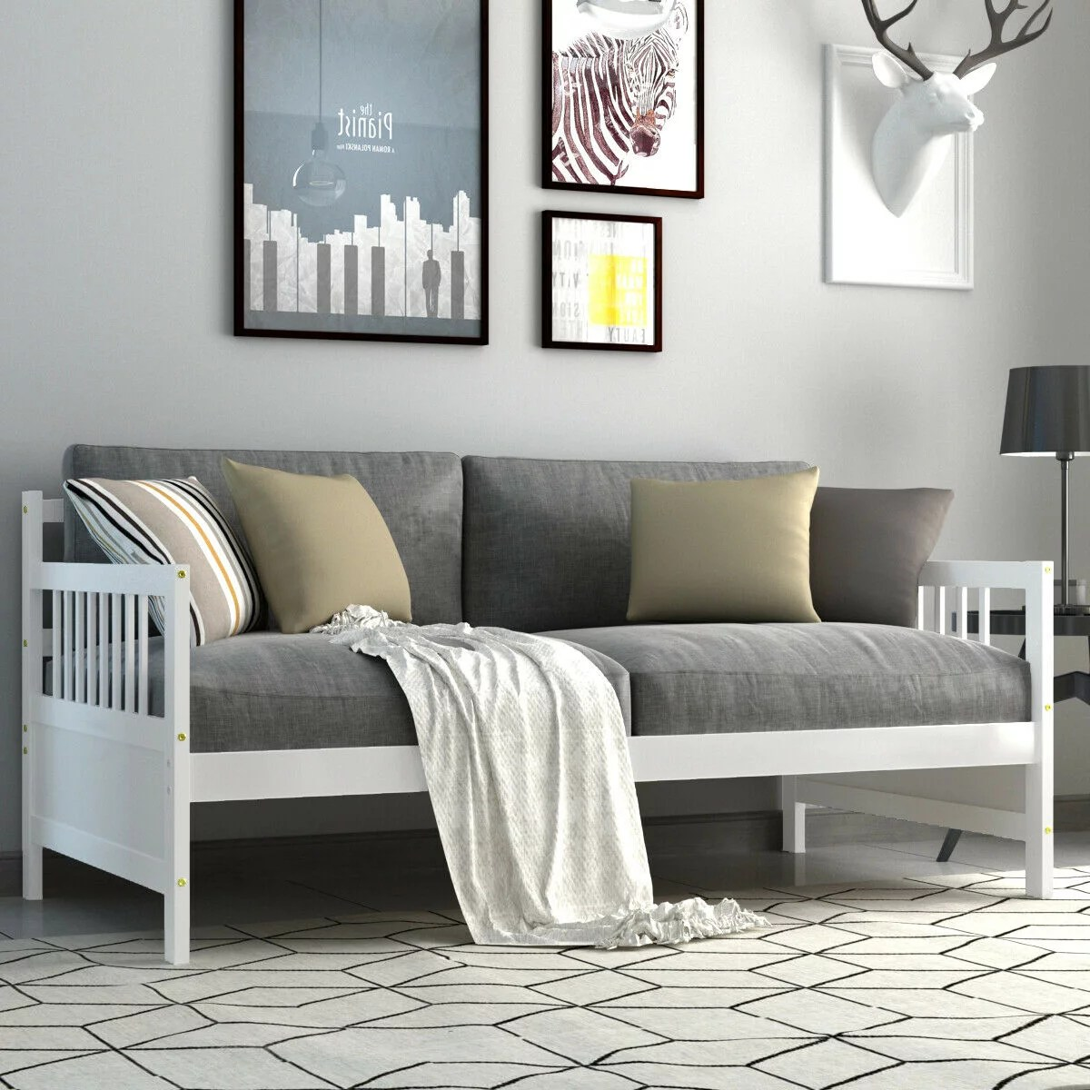 gymax twin size wooden slats daybed bed sofa support platform sturdy w rails espresso white