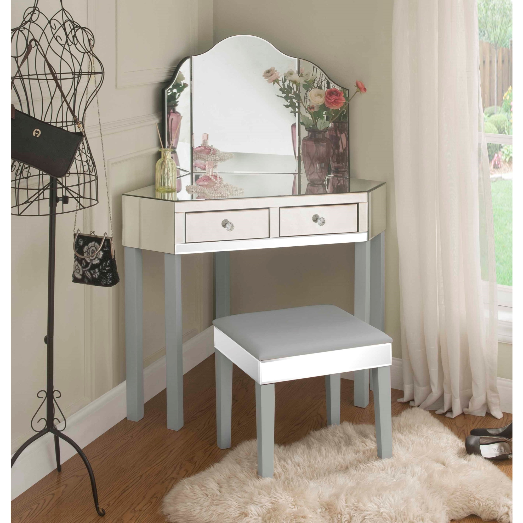 inspired home daryl 3 pieces mirrored corner vanity set 2 drawers and stool with mirror black