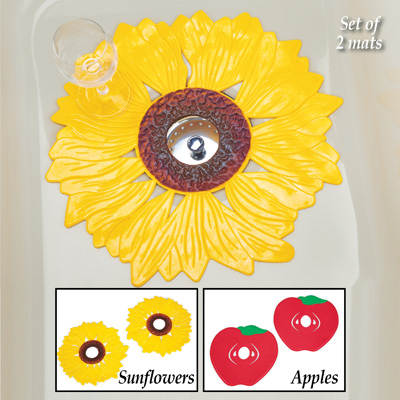 decorative kitchen sink mats set 2 pc apple