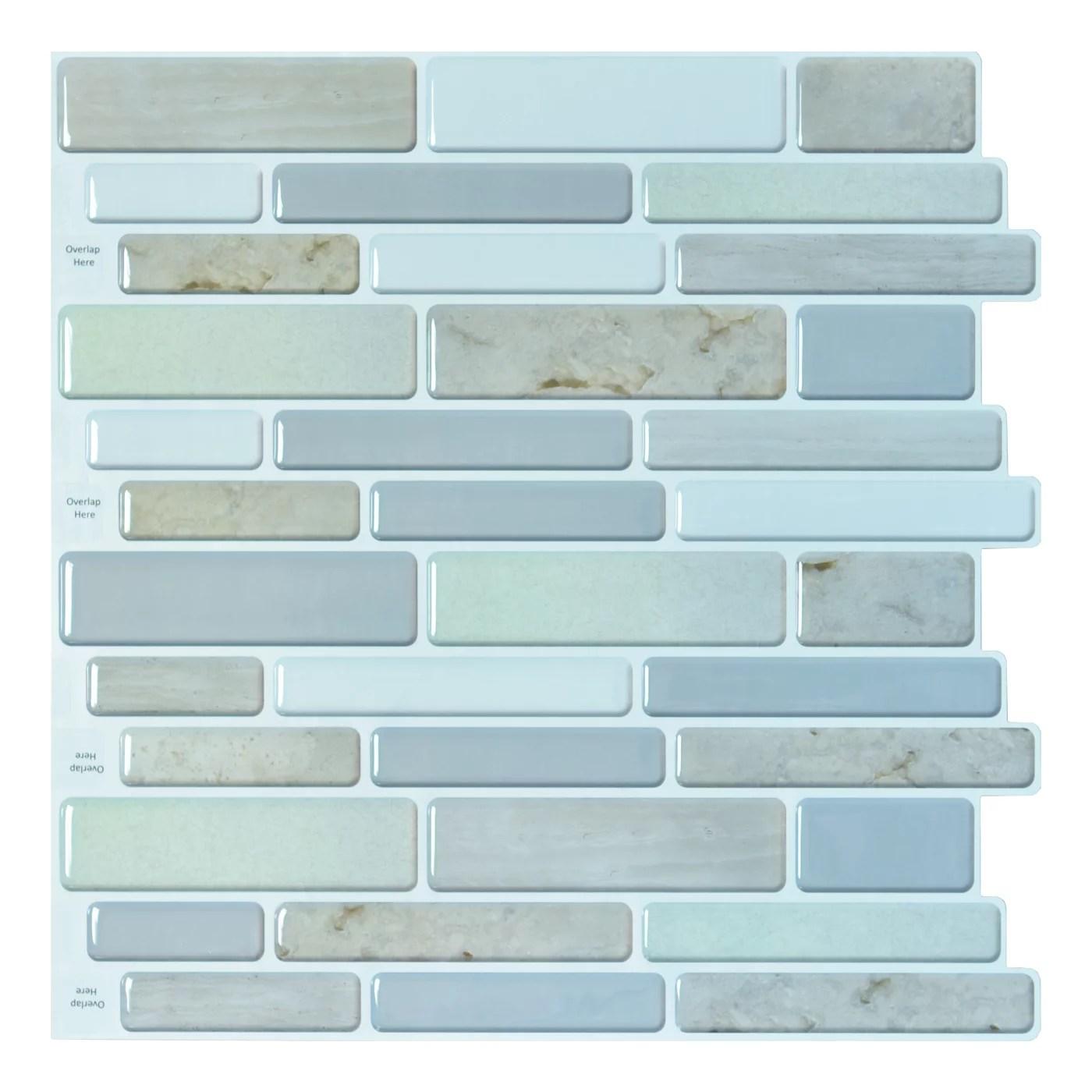 10 tiles self adhesive wall tile peel and stick backsplash tile for kitchen 12 x12 walmart com