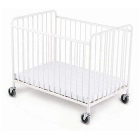 Foundations Stowaway Folding Compact Size Crib With Mattress