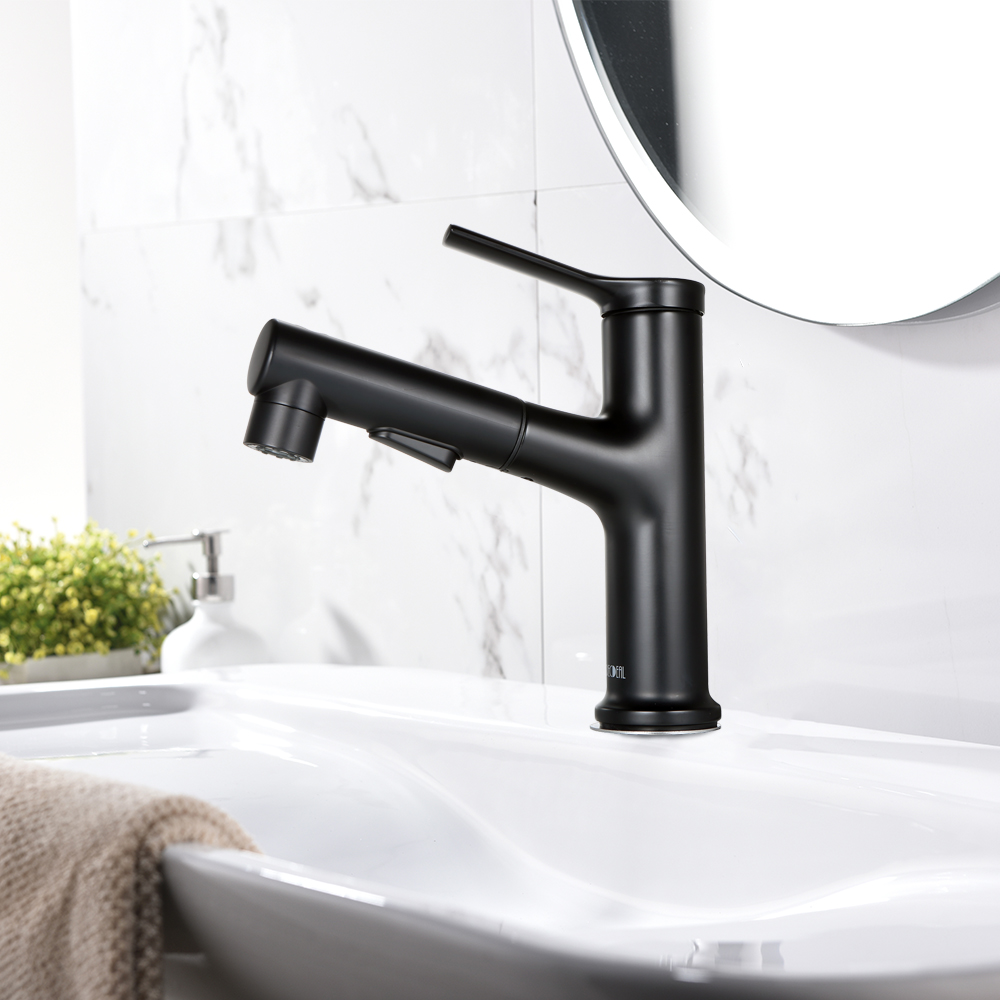 decdeal bathroom sink faucet with pull out sprayer 2 spray modes single handle basin mixer tap for hot and cold water lavatory pull down vessel sink