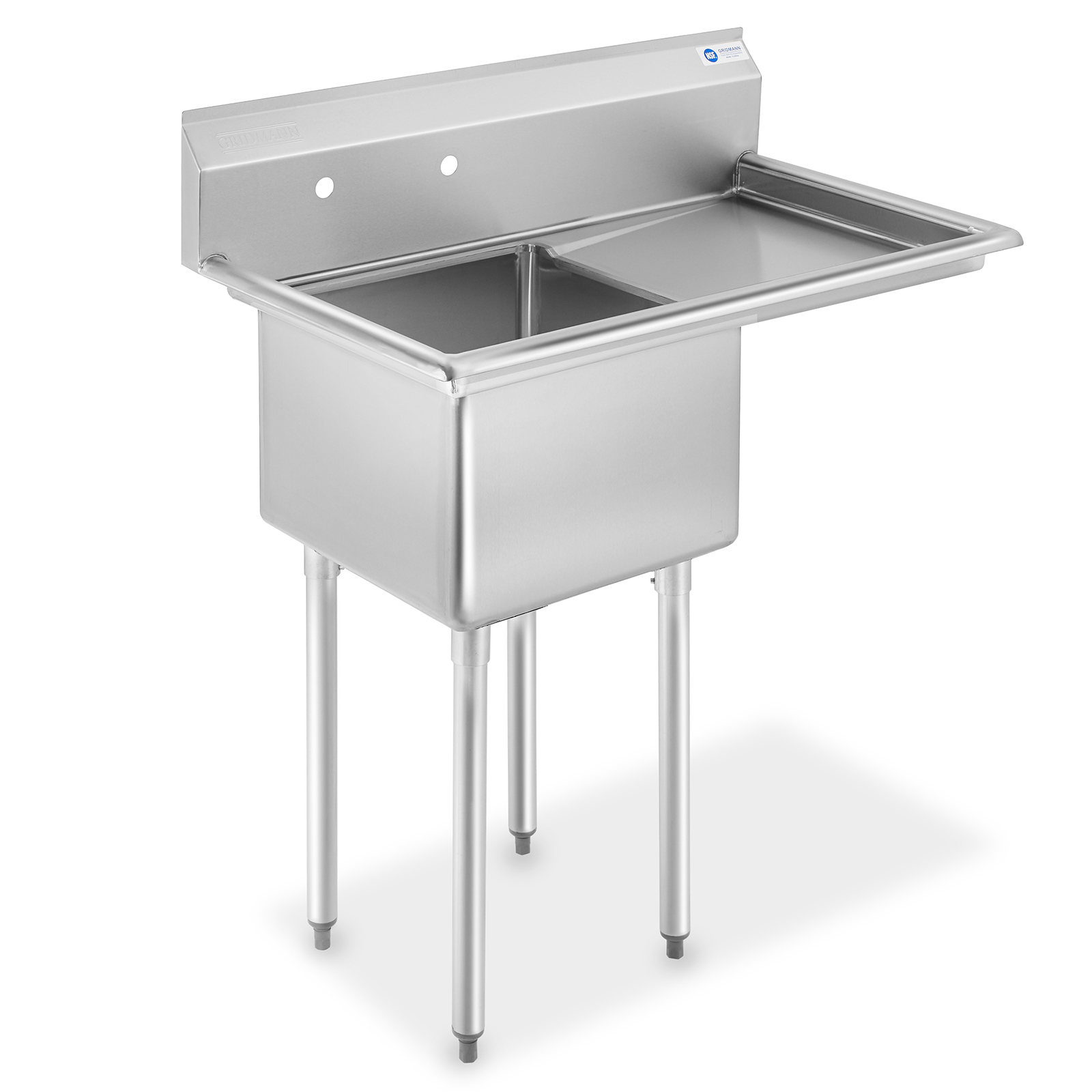 gridmann nsf stainless steel 18 single bowl commercial kitchen sink with right drainboard 12 in deep walmart com