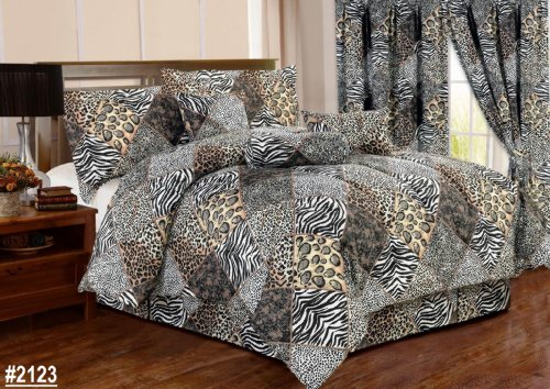 7 Piece Comforter Set Animal Zebra Leopard Print Black