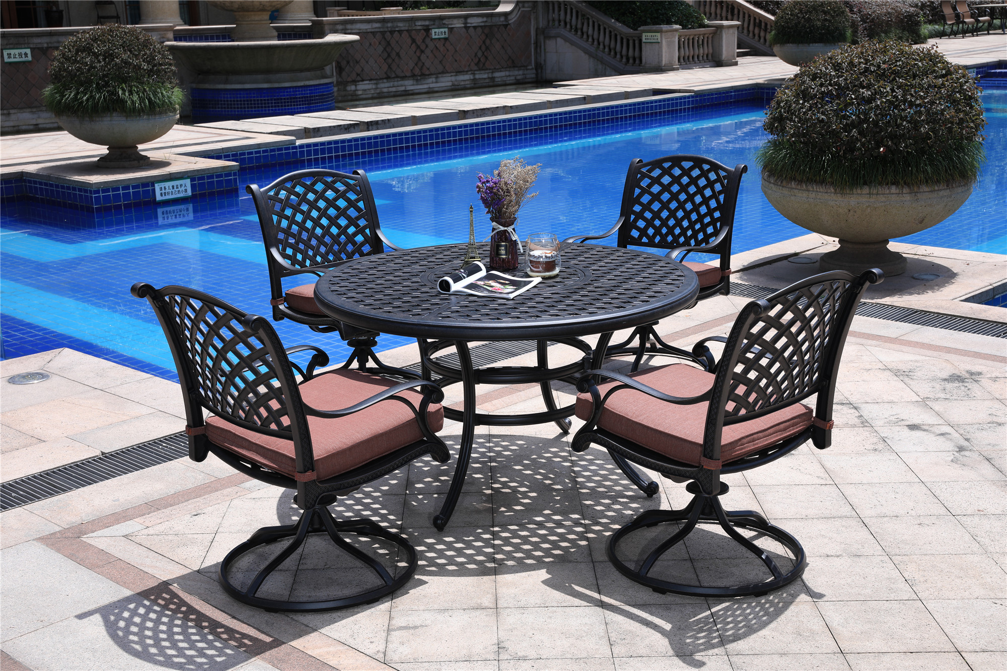 hennessey outdoor patio dining set with swivel rockers cast aluminum 5 piece in brown cushions multiple colors
