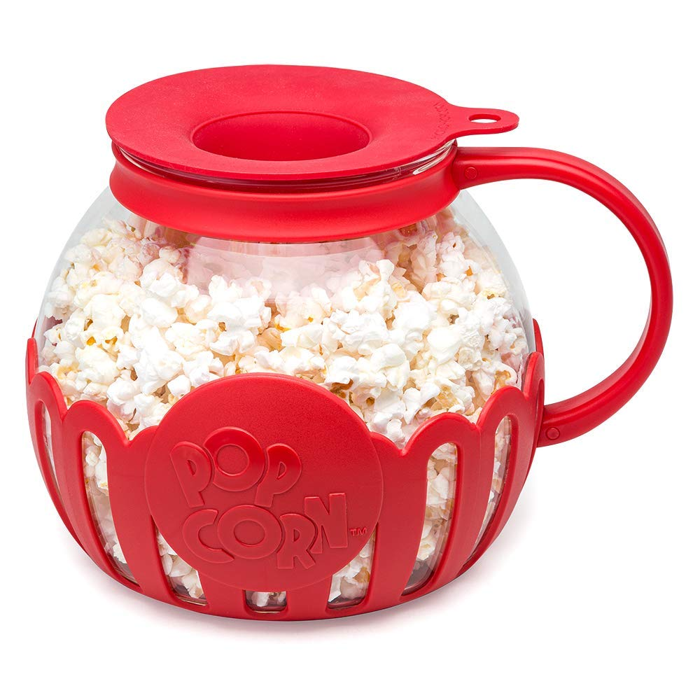 ecolution original microwave micro pop popcorn popper borosilicate glass 3 in 1 silicone lid dishwasher safe bpa free 3 qt family size red
