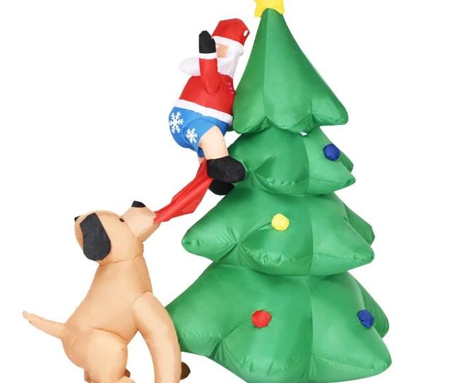 Gymax Ft Waterproof Santa Claus Inflatable Christmas Tree Indoor Outdoor Decor