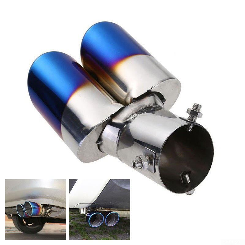 stainless steel blue auto car rear dual exhaust pipes tip throat tail muffler
