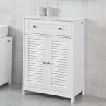 Haotian Bathroom Vanity Setwhite Bathroom Storage Cabinet With Drawer And Double Shutter Door Frg238 W Walmart Com Walmart Com