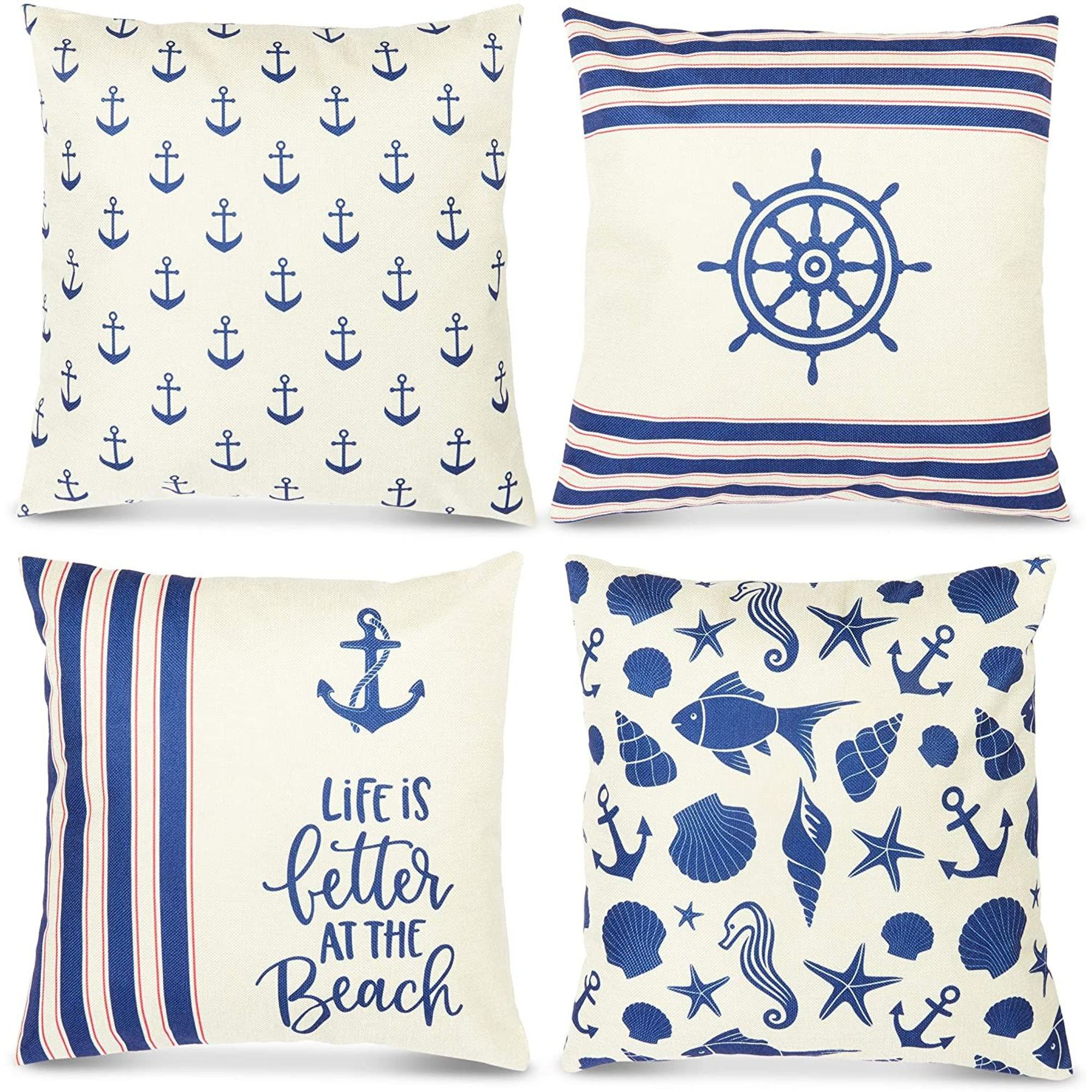 set of 4 nautical boat theme decorative throw pillow covers cushion case protector standard size 18x18 square beige