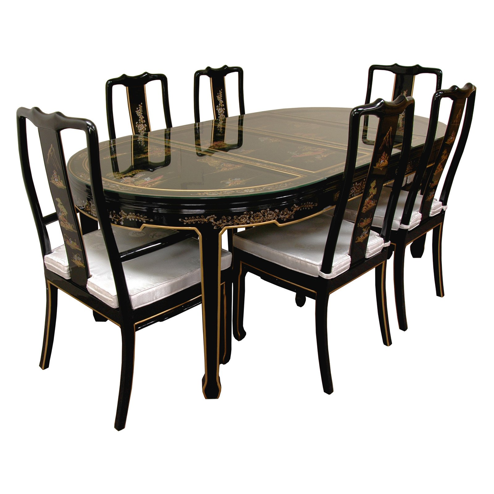 hand painted on black lacquer dining table with 6 chairs on hand painted dining room tables id=75932