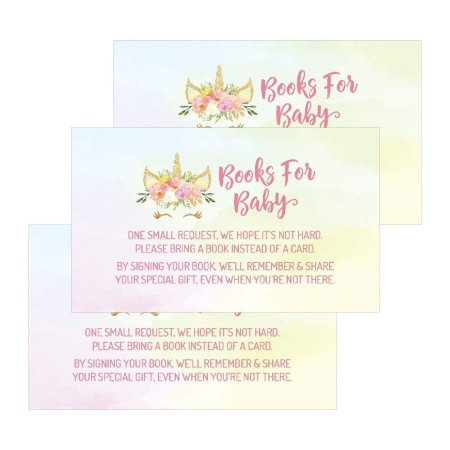 25 Unicorn Books For Baby Request Insert Card Pink Mystic Shower Invitations Or Invites Cute Bring A Book Instead Of Theme