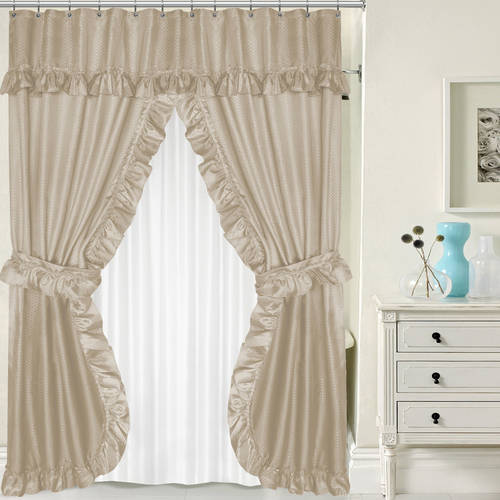 lauren double swag peva fabric shower curtain with tie backs liner 70 x 72