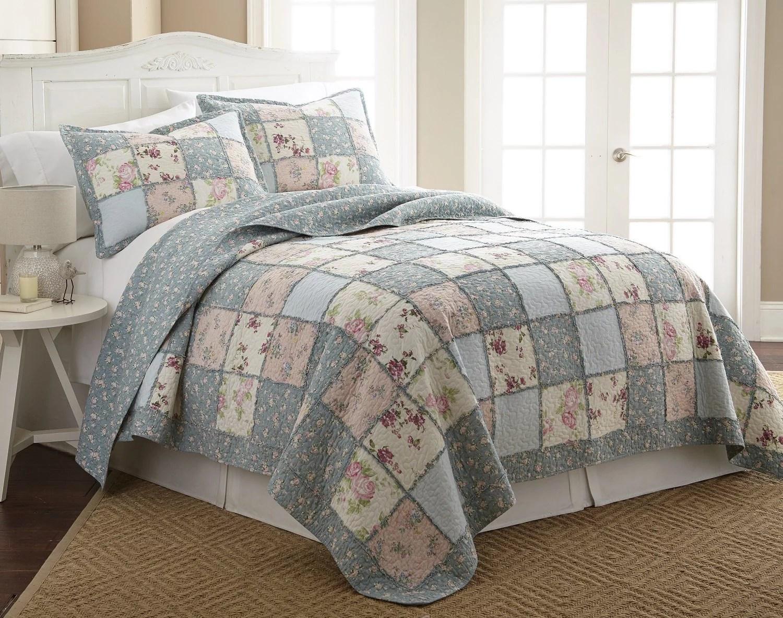 chezmoi collection 3 piece floral patchwork 100 cotton quilt set king