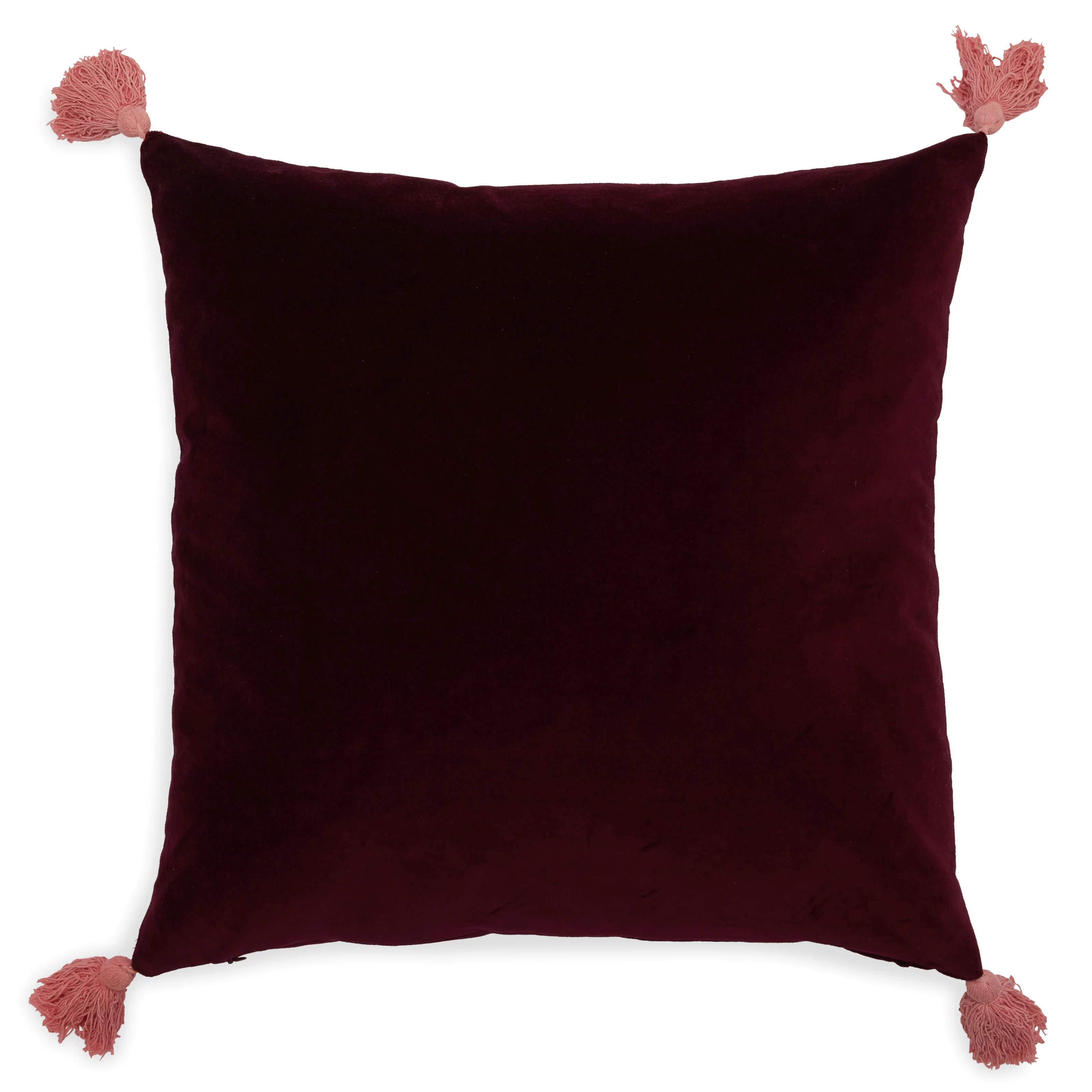 velvet decorative throw pillow with tassels 20x20 by drew barrymore flower home