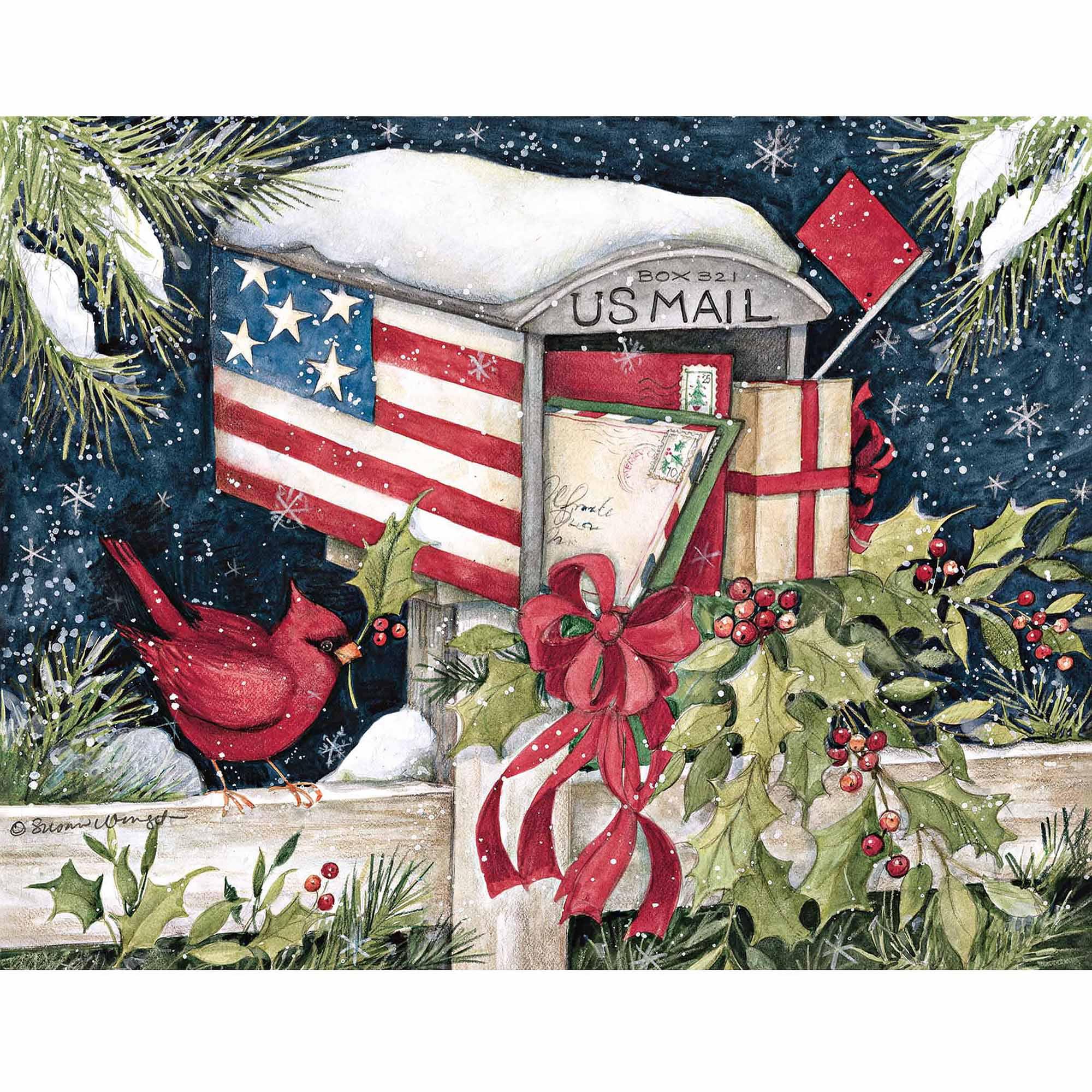 Holiday Mail Box Boxed Christmas Card