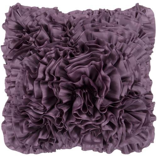 18 purple plum lush ruffle decorative down throw pillow