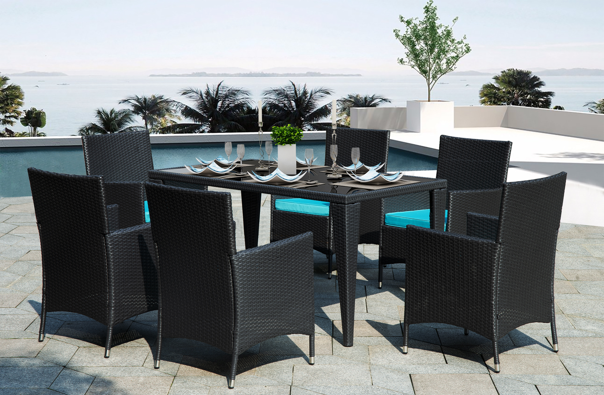 patio dining set seats 6 7 piece outdoor patio furniture set with glass dining table all weathe rectangle patio sofa furniture set with washable
