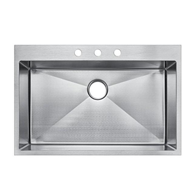 starstar 33 x 22 top mount single bowl kitchen sink drop in 304 stainless steel 16 gauge