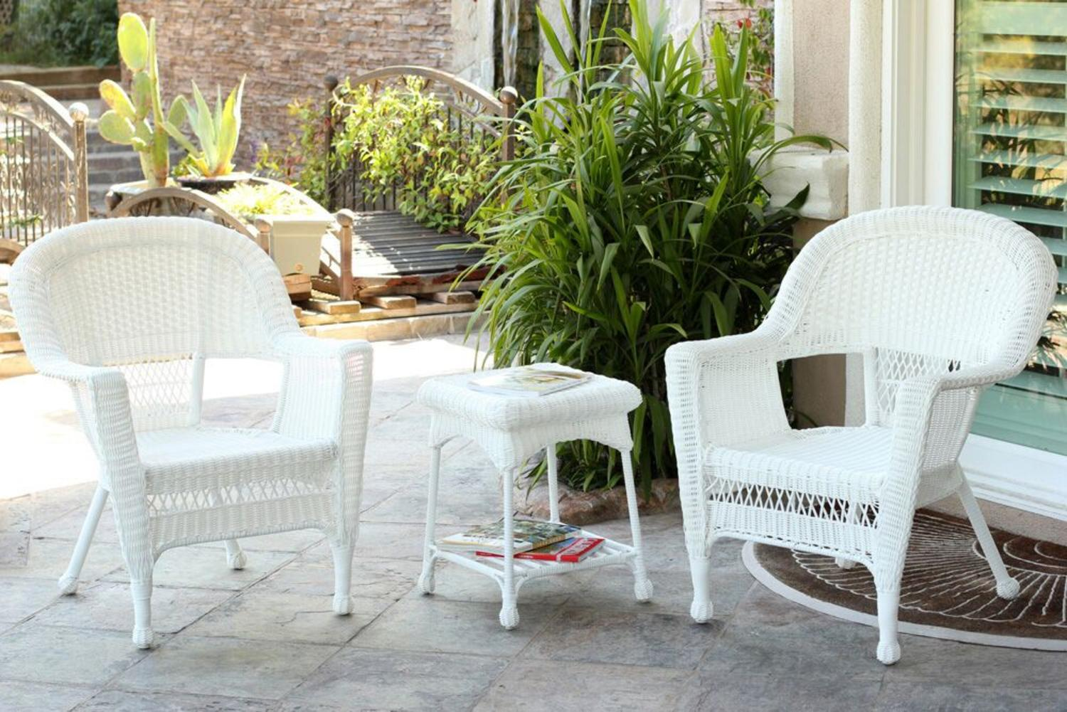 white wicker patio furniture 3-Piece White Resin Wicker Patio Chairs and End Table