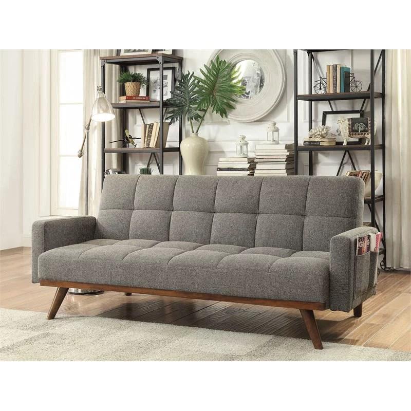 furniture of america kormack mid century modern fabric futon sofa in gray