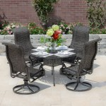 Du Monde 5 Piece Banana Leaf Wicker Patio Dining Set W 48 Inch Round Dining Table Swivel Rockers By Lakeview Outdoor Designs Walmart Com Walmart Com
