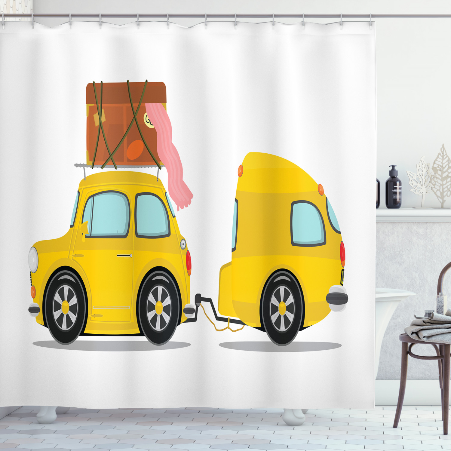 happy camper shower curtain retro car with trailer cartoon outdoor activity theme vacation illustration fabric bathroom set with hooks 69w x 84l