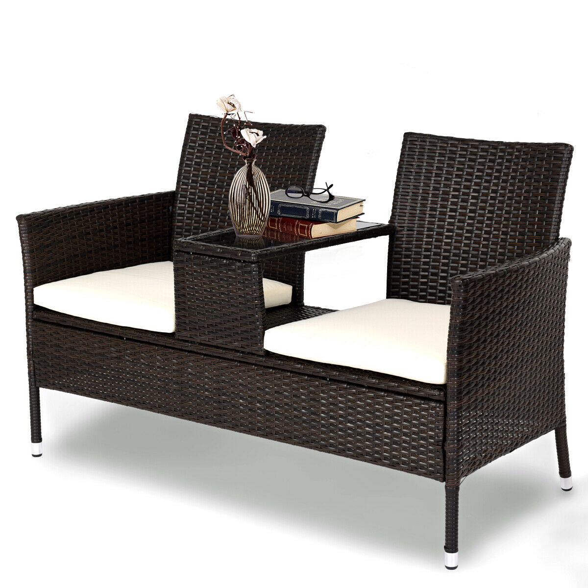 Costway Patio Rattan Chat Set Seat Sofa Loveseat Table ... on Outdoor Loveseat Sets  id=17634