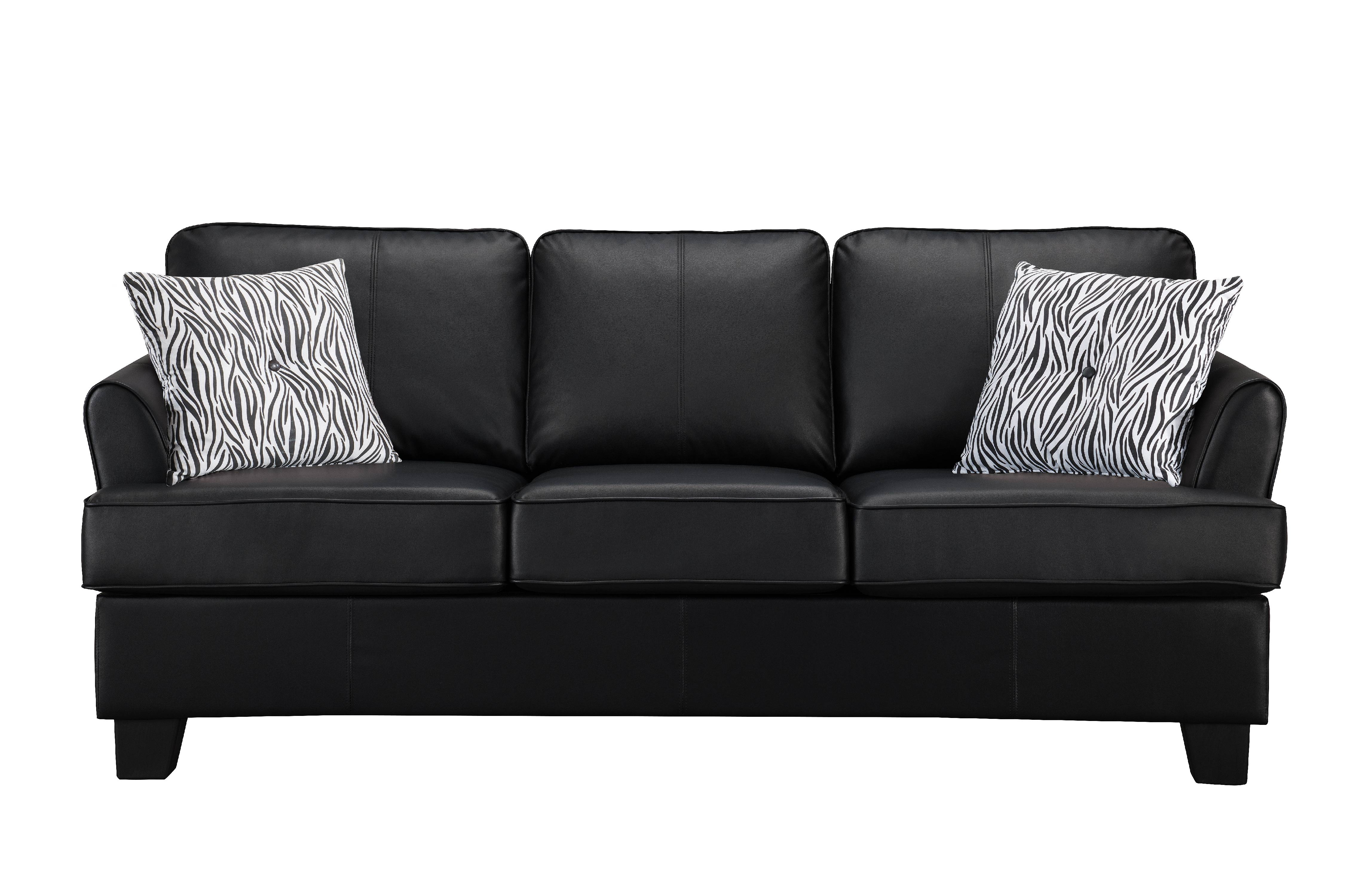 chantal queen size sleeper sofa with throw pillows black faux leather transitional