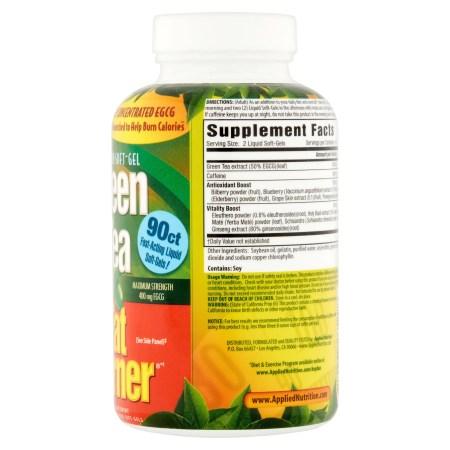 التغذية التطبيقية الخضراء الشاي الأخضر الدهون الموقد حبوب لتخفيف الوزن ، سريع اللدغة السائلة الناعمة ، 90 Ct التغذية التطبيقية الخضراء الشاي الأخضر الدهون الموقد حبوب لتخفيف الوزن ، سريع اللدغة السائلة الناعمة ، 90 Ct c908a9fc 38c8 4392 9aea ea808d9f9eb4 1